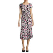 Perceptions Sleeveless Print A-Line Dress
