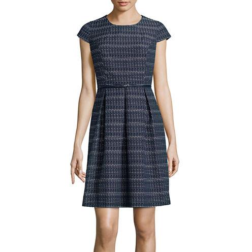 Liz Claiborne® Cap-Sleeve Stripe Fit-and-Flare Dress