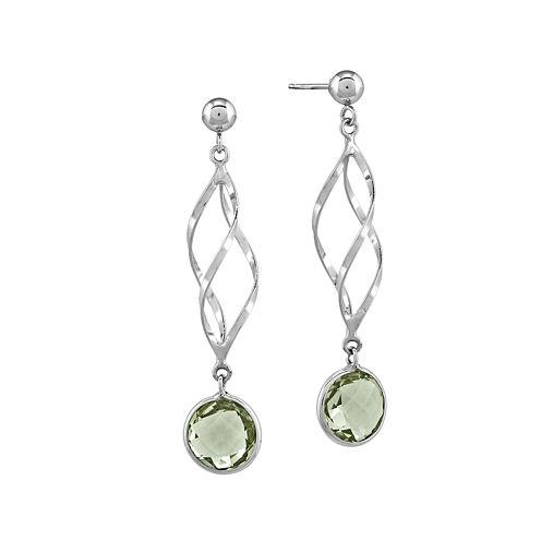 Genuine Green Quartz 14K White Gold Drop Earrings