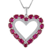 Lab-Created Ruby and White Sapphire Sterling Silver Heart Pendant Necklace