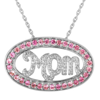 "jcpenney.com | Lab-Created Pink Sapphire and Diamond-Accent ""Mom"" Pendant Necklace"