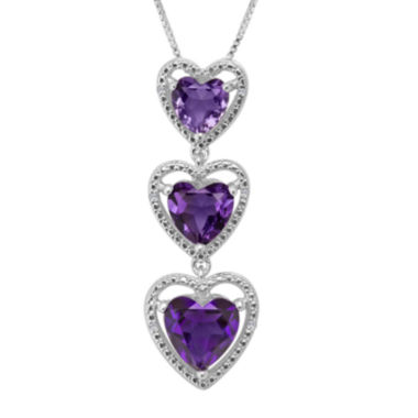 jcpenney.com | Lab-Created Amethyst with Diamond-Accents Sterling Silver Triple Heart Pendant Necklace