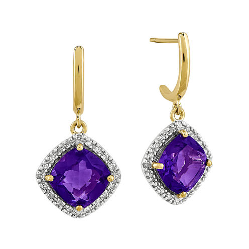 1/5 CT. T.W. Diamond and Genuine Amethyst 14K Yellow Gold Halo Earrings