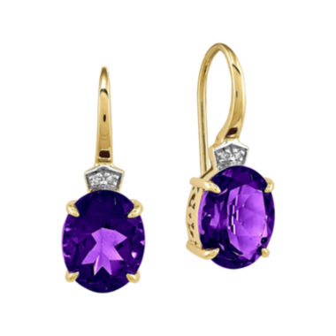jcpenney.com | Genuine Amethyst and Diamond-Accent 14K Yellow Gold Dangle Earrings