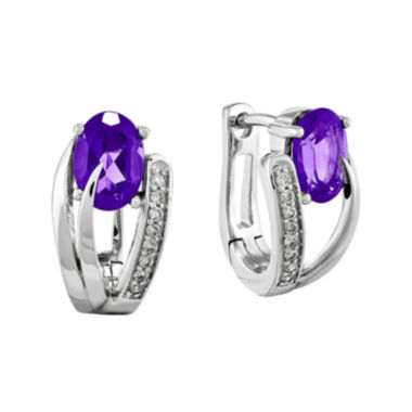 jcpenney.com | Genuine Amethyst 14K White Gold Hinged 1/10 CT. T.W. Diamond Earrings