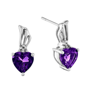 jcpenney.com | Genuine Amethyst and Diamond-Accent 14K White Gold Earrings