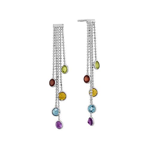 Multicolor Genuine Gemstone 14K White Gold Drop Earrings