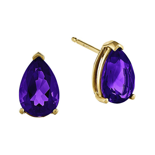 Genuine Amethyst 14K Yellow Gold Earrings