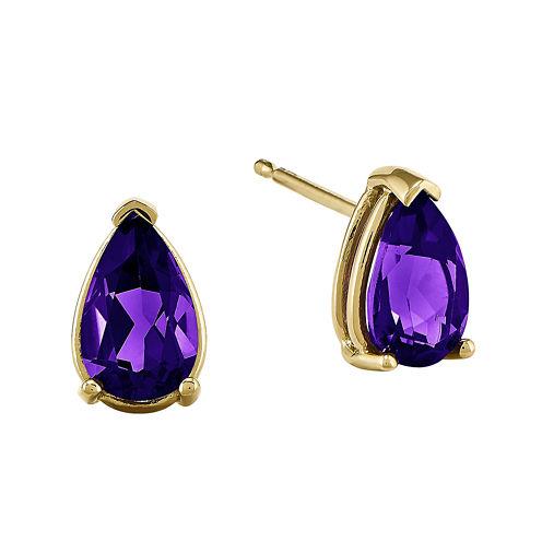 Pear-Shaped Genuine Amethyst 14K Yellow Gold Earrings