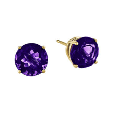 jcpenney.com | Round Genuine Amethyst 14K Yellow Gold Earrings