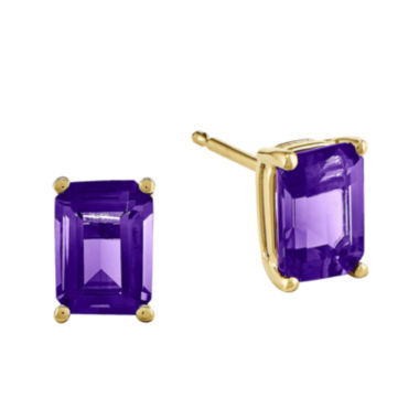 jcpenney.com | Emerald-Cut Genuine Amethyst 14K Yellow Gold Earrings