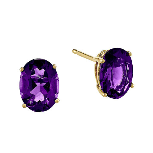 Oval Genuine Amethyst 14K Yellow Gold Earrings