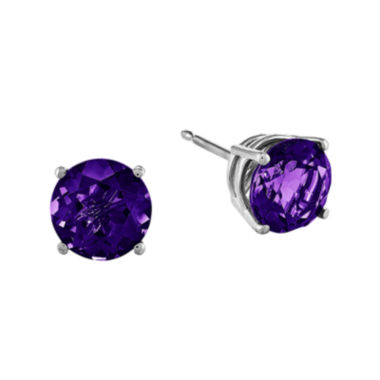 jcpenney.com | Genuine Amethyst 14K White Gold Round Stud Earrings
