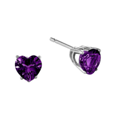 jcpenney.com | Genuine Amethyst 14K White Gold Heart-Shaped Earrings