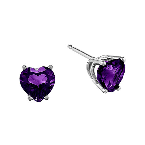 Genuine Amethyst 14K White Gold Heart-Shaped Earrings