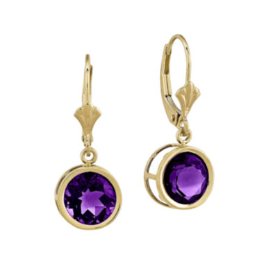 jcpenney.com | Genuine Amethyst 14K Yellow Gold Round Earrings