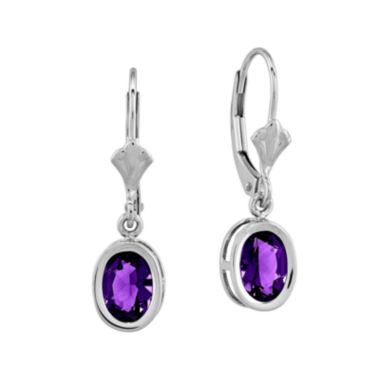 jcpenney.com | Oval Genuine Amethyst 14K White Gold Leverback Earrings