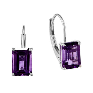 jcpenney.com | Emerald-Cut Genuine Amethyst 14K White Gold Leverback Earrings