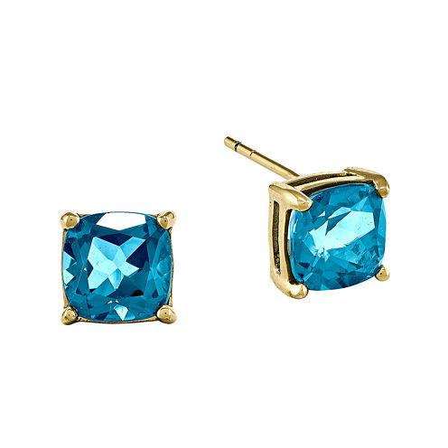 Genuine Swiss Blue 14K Yellow Gold Emerald-Cut Stud Earrings