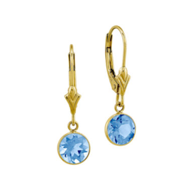 jcpenney.com | Round Genuine Blue Topaz 14K Yellow Gold Leverback Earrings