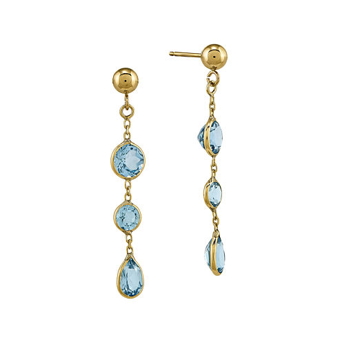 Genuine Blue Topaz 14K Yellow Gold Post Dangle Earrings