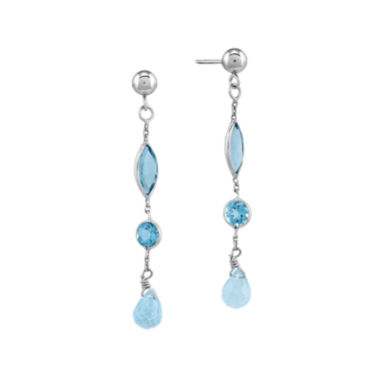 jcpenney.com | Genuine Blue Topaz 14K White Gold Dangle Earrings