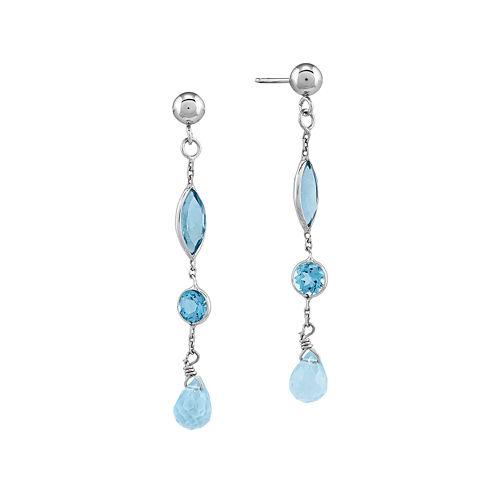 Genuine Blue Topaz 14K White Gold Dangle Earrings