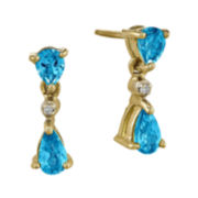 Pear-Shaped Genuine Blue Topaz and Diamond-Accent 14K Yellow Gold Dangle Earrings