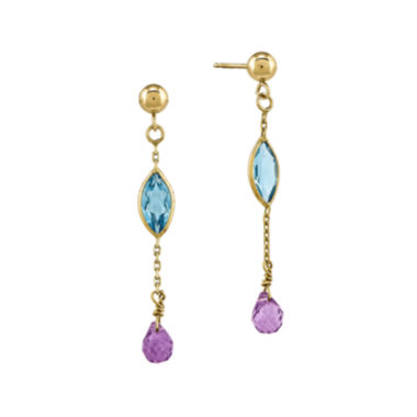 jcpenney.com | Genuine Blue Topaz and Amethyst 14K Yellow Gold Earrings