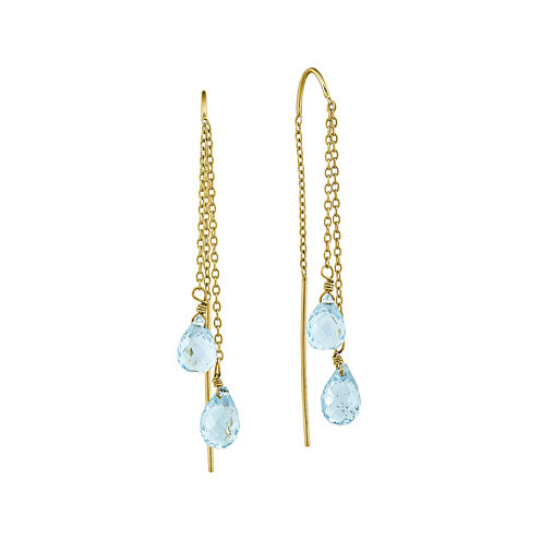 Genuine Swiss Blue Topaz 14K Yellow Gold Double Stone Earrings