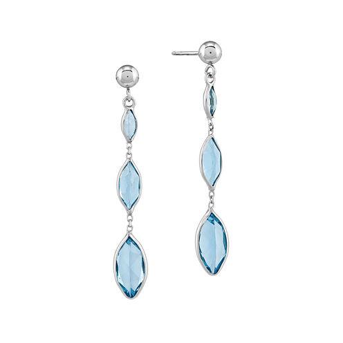 Genuine Swiss Blue Topaz 14K White Gold Three-Stone Earrings