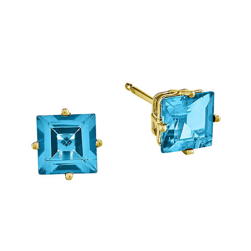 Genuine Swiss Blue Topaz 14K Yellow Gold Princess-Cut Earrings