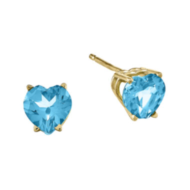 jcpenney.com | Genuine Swiss Blue Topaz 14K Yellow Gold Heart-Shaped Earrings