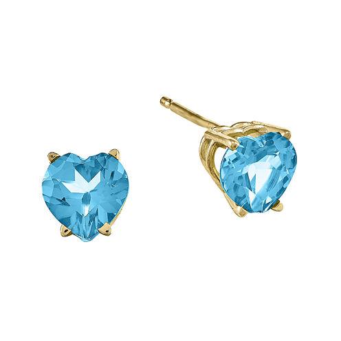 Genuine Swiss Blue Topaz 14K Yellow Gold Heart-Shaped Earrings