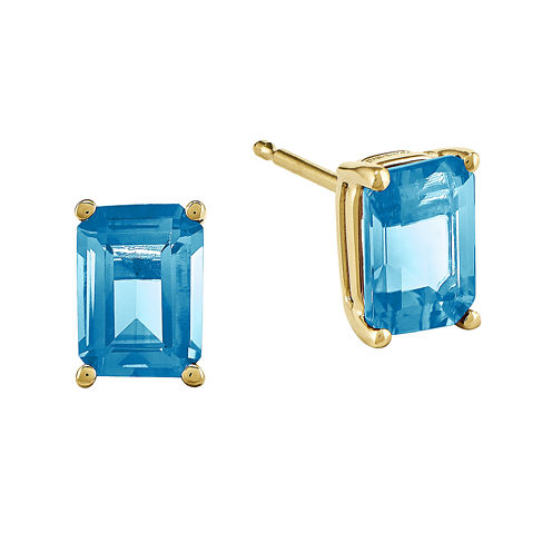 Genuine Swiss Blue Topaz 14K Yellow Gold Emerald-Cut Earrings