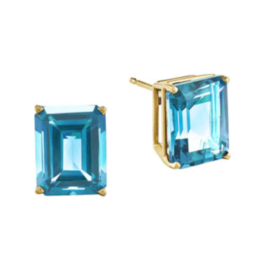 jcpenney.com | Genuine Swiss Blue Topaz 14K Yellow Gold Emerald-Cut Earrings