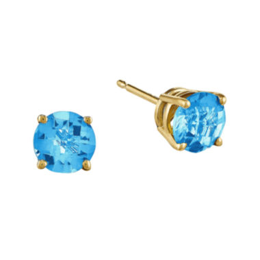 jcpenney.com | Genuine Swiss Blue Topaz 14K Yellow Gold Round Earrings