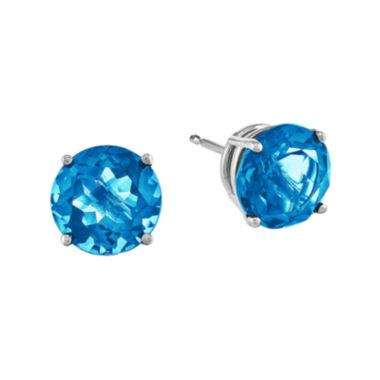 jcpenney.com | Round Genuine Blue Topaz 14K White Gold Earrings