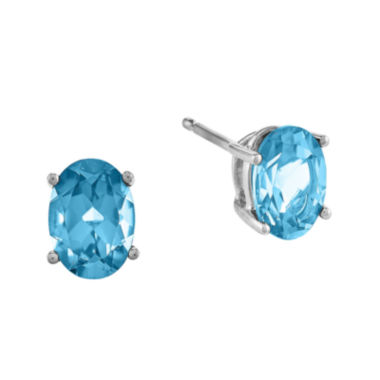 jcpenney.com | Oval Genuine Blue Topaz 14K White Gold Earrings