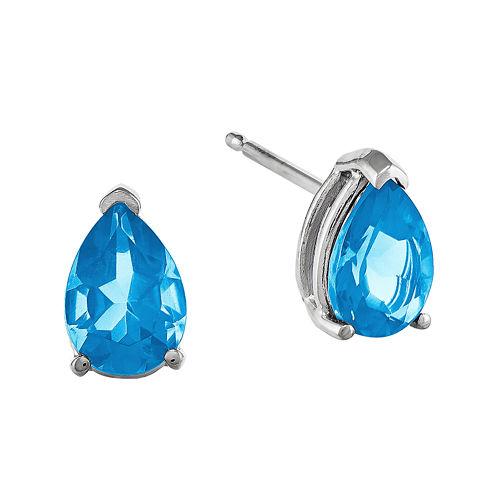 Pear-Shaped Genuine Blue Topaz 14K White Gold Earrings