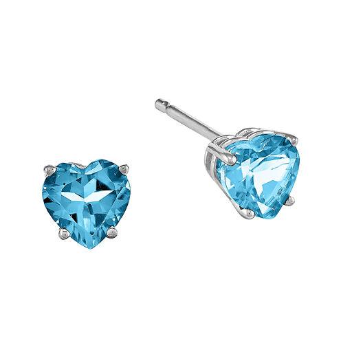 Genuine Blue Topaz 14K White Gold Heart-Shaped Earrings