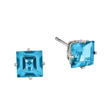 jcpenney.com | Genuine Blue Topaz 14K White Gold Princess-Cut Earrings
