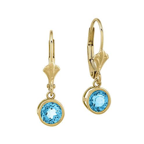 Round Genuine Blue Topaz 14K Yellow Gold Leverback Earrings