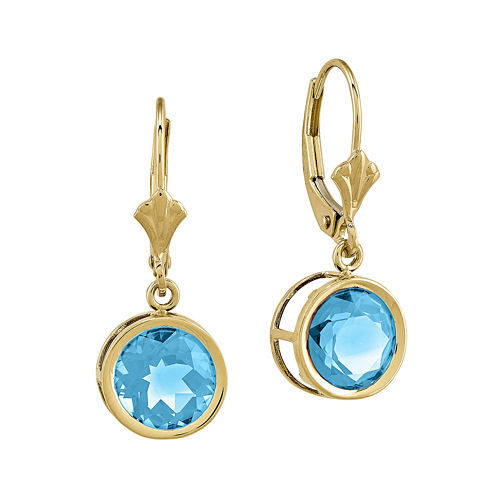 Round Genuine Blue Topaz 14K Yellow Gold Leverback Earrings