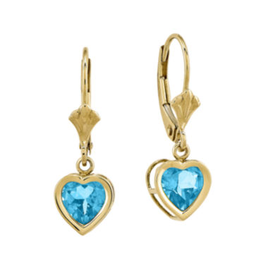 jcpenney.com | Heart-Shaped Genuine Blue Topaz 14K Yellow Gold Leverback Earrings
