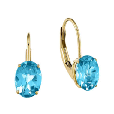 jcpenney.com | Oval Genuine Blue Topaz 14K Yellow Gold Leverback Earrings