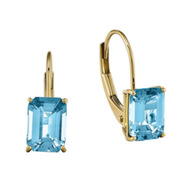 jcpenney.com | Genuine Blue Topaz 14K Yellow Gold Earrings