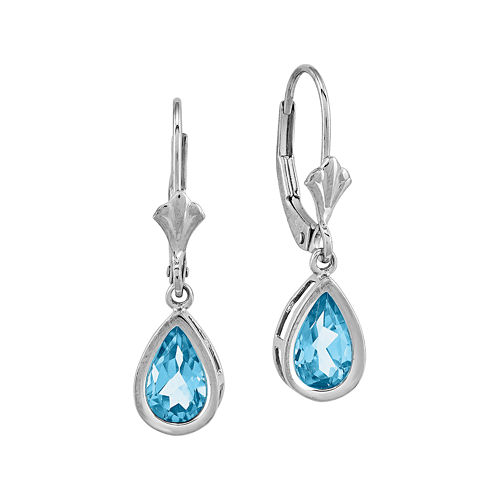 Pear-Shaped Genuine Blue Topaz 14K White Gold Leverback Earrings