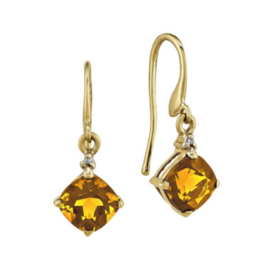 jcpenney.com | Cushion-Cut Genuine Citrine and Diamond-Accent 14K Yellow Gold Drop Earrings