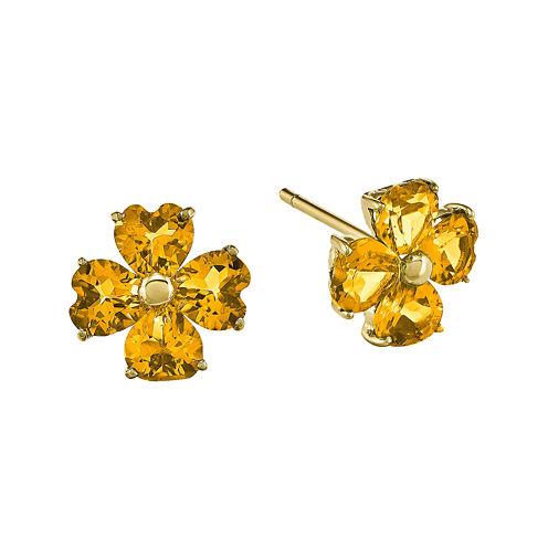 Heart-Shaped Genuine Citrine 14K Yellow Gold Flower Earrings